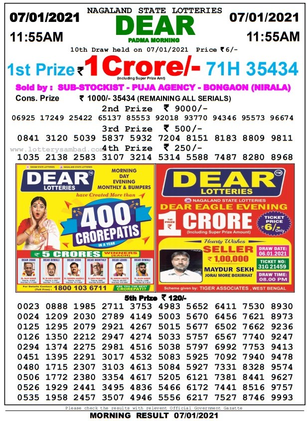Lottery Sambad Result 08 jan 2021